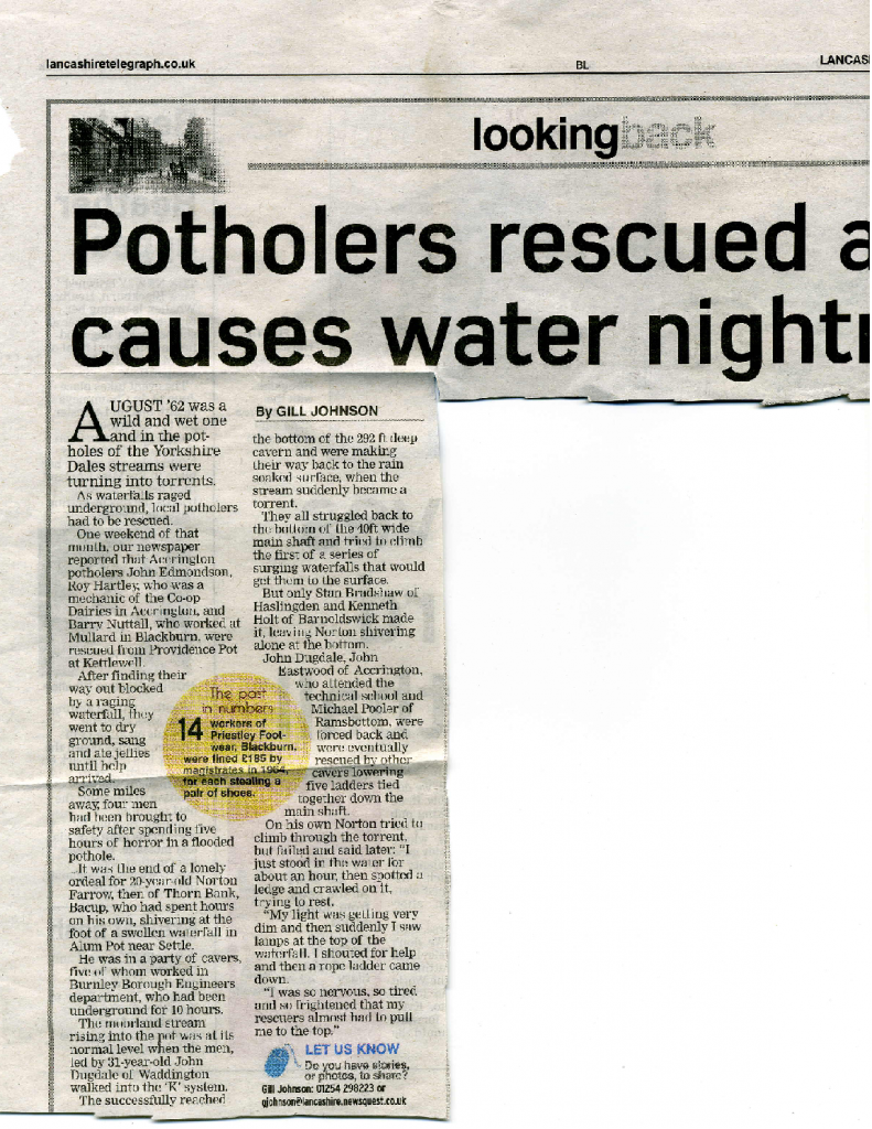 Alum Pot Rescue 1962
