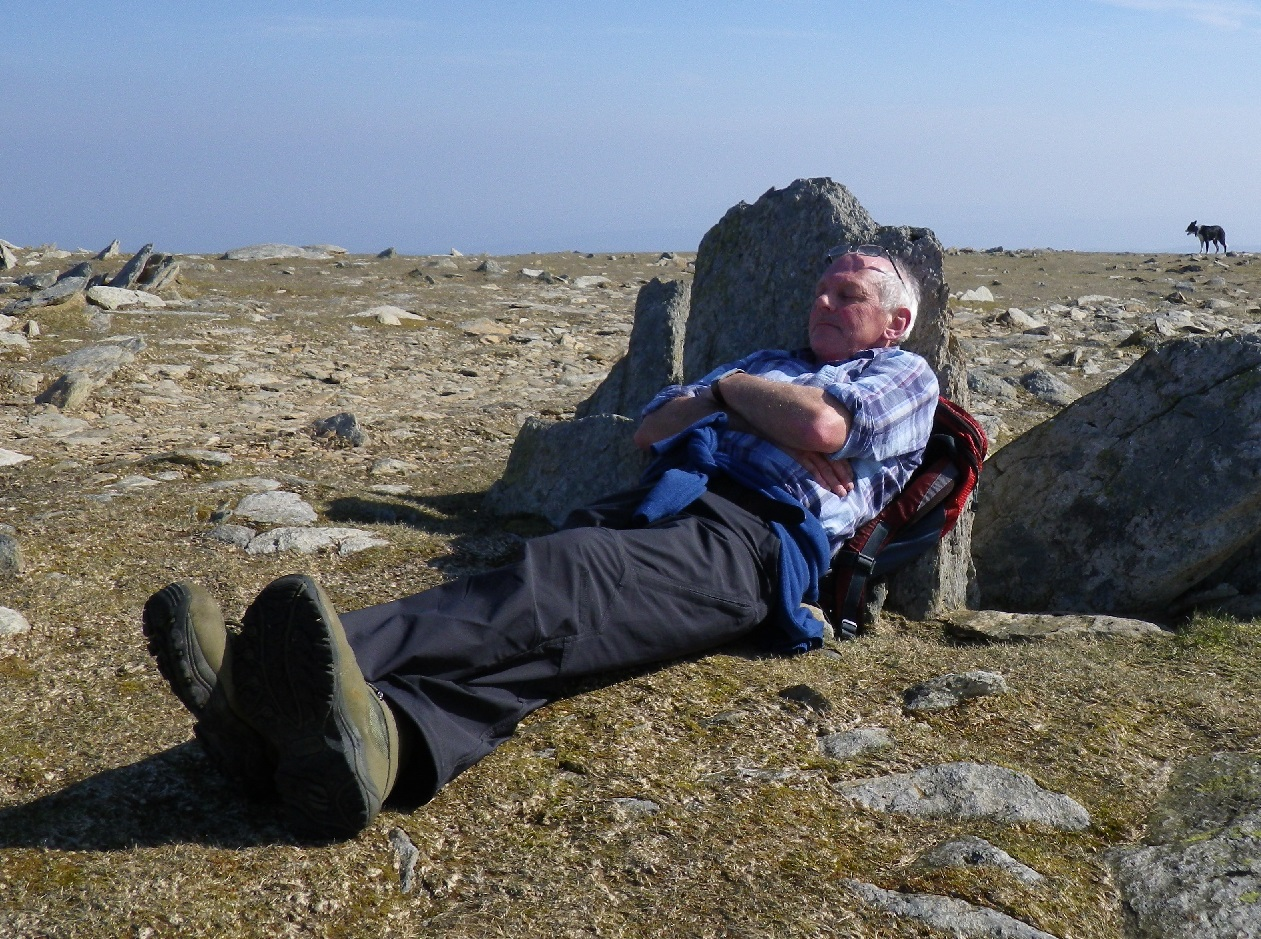 Spud relaxing near the summit of Coniston Old Man - 2012