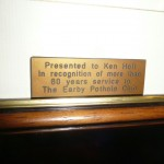 The inscription on Ken Holts long service award 2010