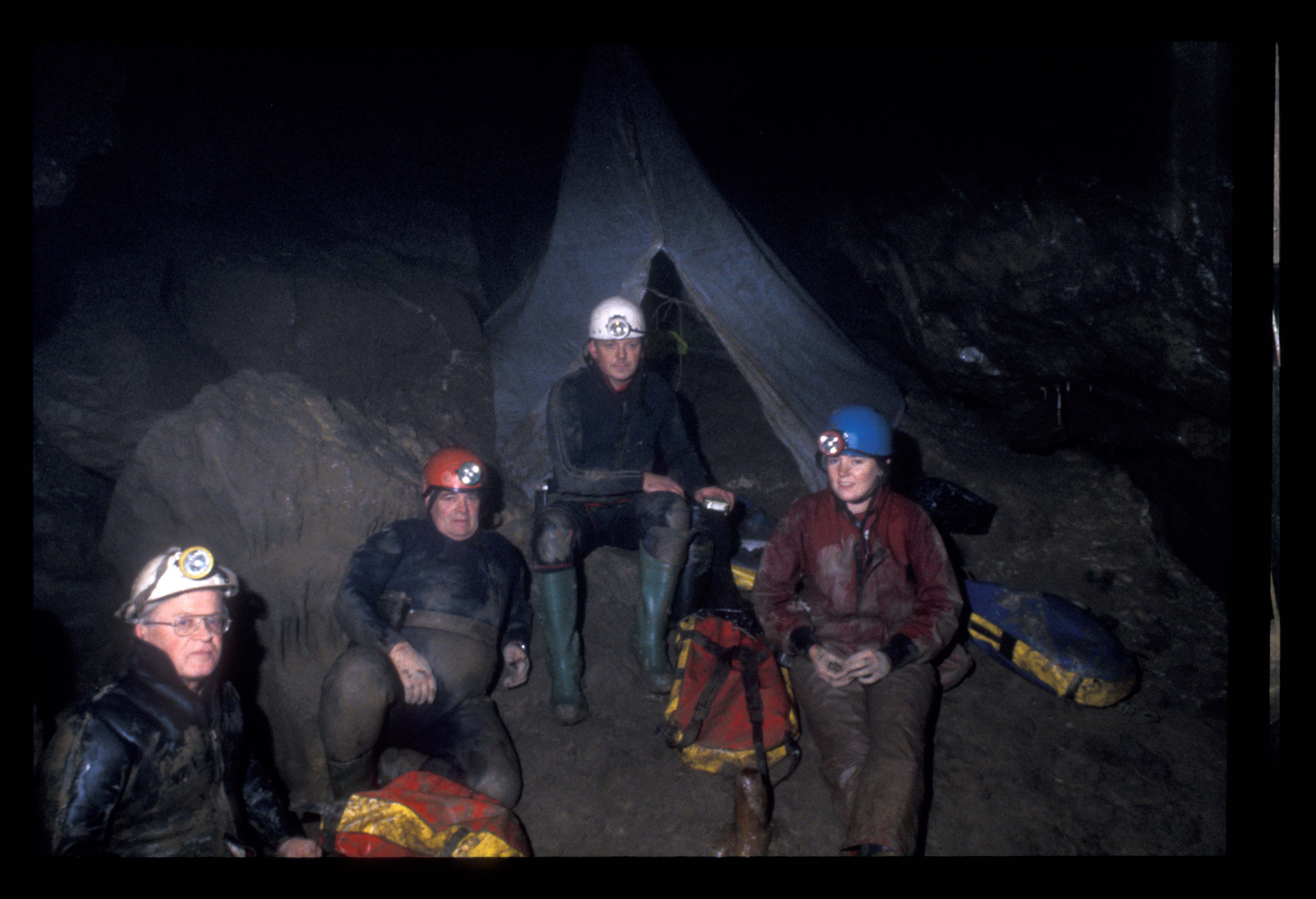 Sue, Andrew, Gordon and Ken in White Scar 1995